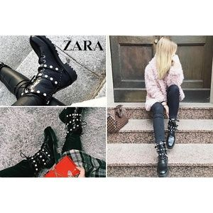 ZARA AW 2018 ANKLE BOOTS W/ ZIP BUCKLES FAUX PEARL